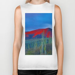 Green Cactus Field In The Desert With Red Mountains Blue Grey Sky Landscape Photography Biker Tank