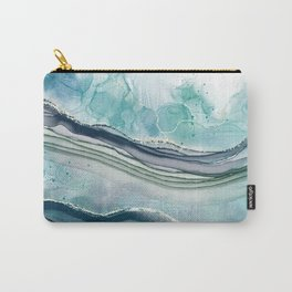 Abstract Alcohol Ink Blue Green Ocean Carry-All Pouch