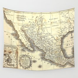 Vintage Mexico map Wall Tapestry