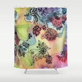 Sweet doodle flowers Shower Curtain