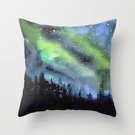 Galaxy Nebula Watercolor Northern Lights Aurora Borealis Throw Pillow