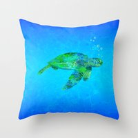 sea turtle Throw Pillows featuring Sea Turtle  by MacDonald Creative Studios