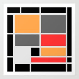 Mondrianista orange red black and gray Art Print