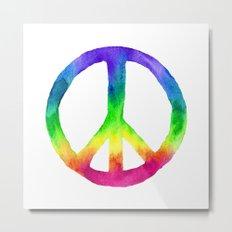 Rainbow Watercolor Peace Sign Metal Print