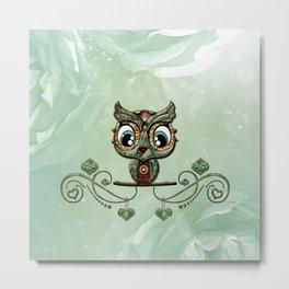 Cute little owl, green diamond Metal Print