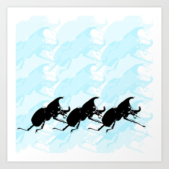 3 Scarabs Blue Art Print