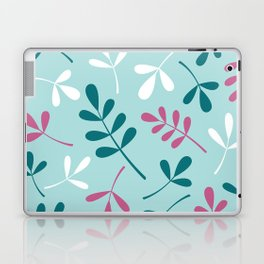 Assorted Leaf Silhouettes Teals Pink White Laptop & iPad Skin