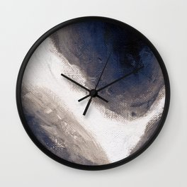 Navy, black & white abstract Wall Clock