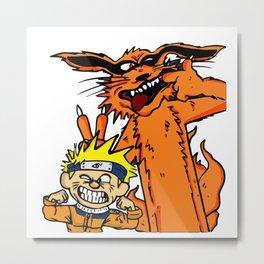 Naruto and Nine-Tails Fox Metal Print