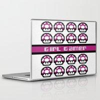 gamer Laptop & iPad Skins featuring Girl Gamer by babybirdie09