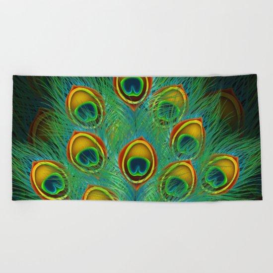 Peacock feather Beach Towel