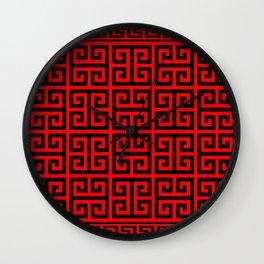 Greek Key (Red & Black Pattern) Wall Clock