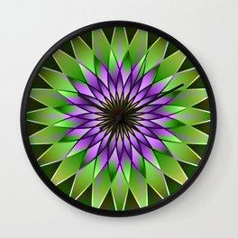 Lavender lotus mandala Wall Clock