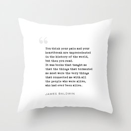 James Baldwin Quote on Books Throw Pillow