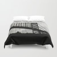 newspaper Duvet Covers featuring News Feed , Newspaper Bridge Collage, night silhouette cityscape news paper cutout, black and white  by Irene's Goodies