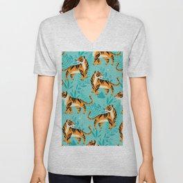 Yellow Tigers on Turquoise Unisex V-Neck