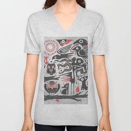 Forest and animals illustration Unisex V-Neck
