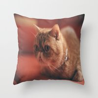 hunting Throw Pillows featuring hunting by Catalina Matei