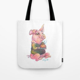 Cute Pig with a Pie Illustration Tote Bag
