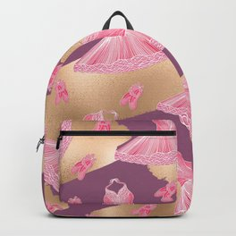 Artsy Girly Pink Gold Purple Ballerina Dress Shoes Backpack