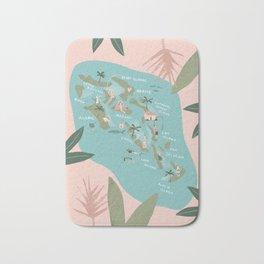 Bahamas Illustrated Map Bath Mat
