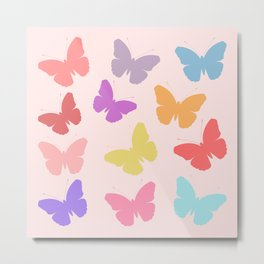 Multicoloured Butterflies on Pink Metal Print
