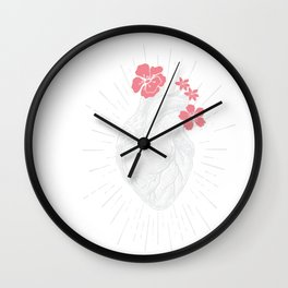Womens Vintage Human Heart print Heart Floral design for women Wall Clock