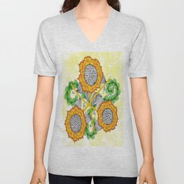 Zentangle Happy Yellow and Orange Sunflowers Unisex V-Neck