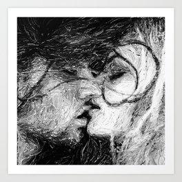 Abstract Ink Kiss Art Print