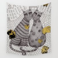 hats Wall Tapestries featuring Two Cats Without Hats by Judith Clay