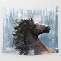 mustang Wall Tapestries featuring Mustang Horse in the snow by Simone Gatterwe