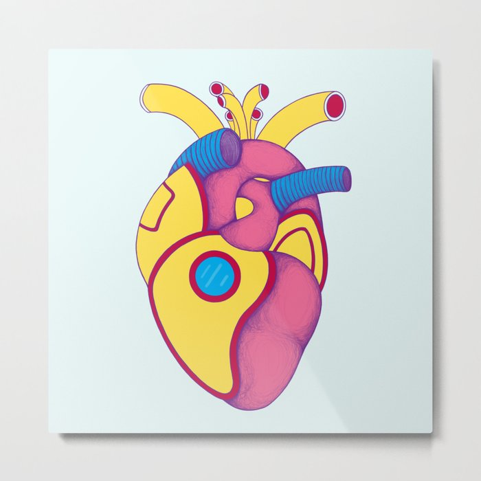 Yellow Submarine Heart Metal Print