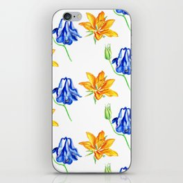 Columbine and Lily Hand Painted Diagonally Repeating Floral Pattern iPhone Skin