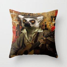 Lemur Busker in Paris Throw Pillow