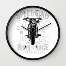 Speed King Motorcycle Born To Race Wall Clock