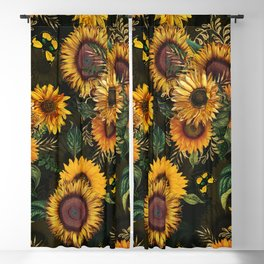 Vintage & Shabby Chic - Midnight Sunflower Garden Blackout Curtain