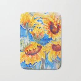 Sunflowers x 5 watercolor by CheyAnne Sexton Bath Mat