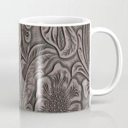 Distressed Smoky Tooled Leather Coffee Mug