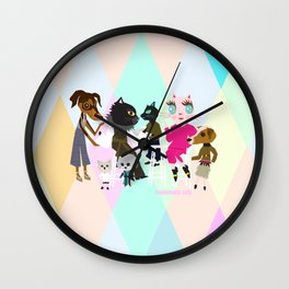 PASTEL COLOR FASHIONISTA CATS Wall Clock