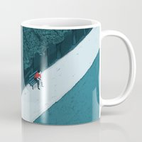 silent Mugs featuring Blue Silent by Andrea Dalla Barba