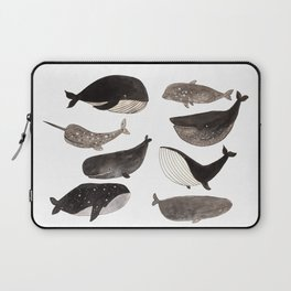 Black and white whales Laptop Sleeve