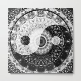 Ideal Balance Black And White Yin and Yang by Sharon Cummings Metal Print