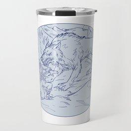 Fenrir Attacking Norse God Odin Drawing Color Travel Mug