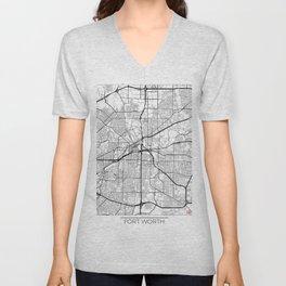 Fort Worth Map White Unisex V-Neck