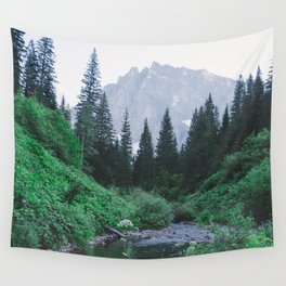 Mountain Through The Lush Forest Wall Tapestry