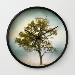 Bleached Sage Green Cotton Field Tree - Landscape  Wall Clock