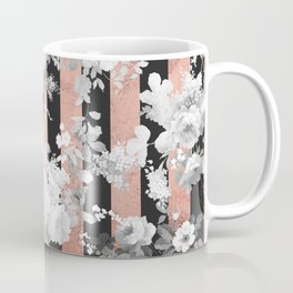 Vintage style black white floral rose gold geometric pattern Coffee Mug