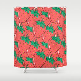 BRIGHT AND COLORFUL STRAWBERRY POP ART PATTERN Shower Curtain