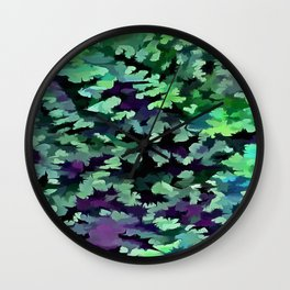 Foliage Abstract Pop Art In Jade Green and Purple Wall Clock