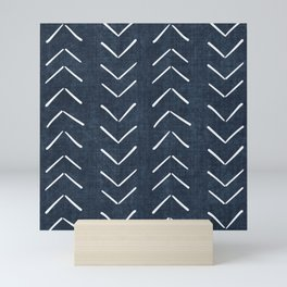 Mud Cloth Big Arrows in Navy Mini Art Print
